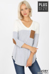 Front of Ivory Color Block V-Neck 3/4 Sleeve Plus Size Top with Front Pocket
