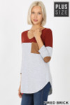 45 degree left side view of Fired Brick Color Block V-Neck 3/4 Sleeve Plus Size Top with Front Pocket