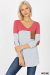 Front view of Rose Color Block V-Neck 3/4 Sleeve Top with Front Pocket