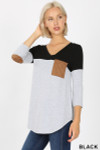 Front view of Black Color Block V-Neck 3/4 Sleeve Top with Front Pocket