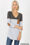 Front view of Charcoal Color Block V-Neck 3/4 Sleeve Top with Front Pocket