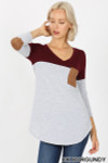 Front view of Dk Burgundy Color Block V-Neck 3/4 Sleeve Top with Front Pocket