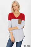 Front view of Dk Red Color Block V-Neck 3/4 Sleeve Top with Front Pocket