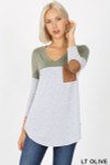 Front view of Lt Olive Color Block V-Neck 3/4 Sleeve Top with Front Pocket
