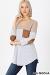 45 degree left view of Ash Mocha Color Block V-Neck 3/4 Sleeve Top with Front Pocket