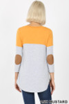 Back view of Ash Mustard Color Block V-Neck 3/4 Sleeve Top with Front Pocket
