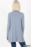 Back image of Cement Long Sleeve Mock Neck Top with Pockets