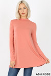 Front image of Ash Rose Long Sleeve Mock Neck Top with Pockets