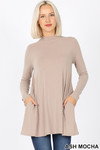 Front image of Mocha Long Sleeve Mock Neck Top with Pockets