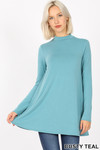 Front image of Dusty Teal Long Sleeve Mock Neck Top with Pockets