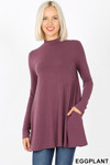 Front image of Eggplant Long Sleeve Mock Neck Top with Pockets