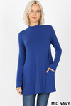 Front image of Mid Navy Long Sleeve Mock Neck Top with Pockets