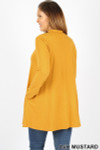 45 degree back image of Ash Mustard Long Sleeve Mock Neck Plus Size Top
