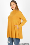 45 degree left side image of Ash Mustard Long Sleeve Mock Neck Plus Size Top