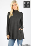 Front image of Charcoal Long Sleeve Mock Neck Plus Size Top