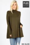 Front image of Dk Olive Long Sleeve Mock Neck Plus Size Top