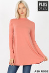 Front image of Ash Rose Long Sleeve Mock Neck Plus Size Top