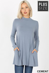 Front image of Cement Long Sleeve Mock Neck Plus Size Top