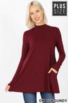 Front image of Dk Burgundy Long Sleeve Mock Neck Plus Size Top