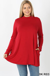 Front image of Dk Red Long Sleeve Mock Neck Plus Size Top