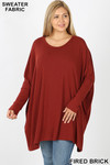 Front view of Fired Brick Oversized Round Neck Poncho Plus Size Sweater