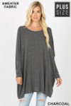 Front view of Charcoal Oversized Round Neck Poncho Plus Size Sweater