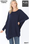 Front view of Navy Oversized Round Neck Poncho Plus Size Sweater