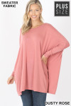Front view of Dusty Rose Oversized Round Neck Poncho Plus Size Sweater