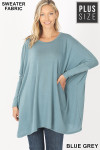 Front view of Blue Grey Oversized Round Neck Poncho Plus Size Sweater