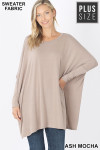Front view of Ash Mocha Oversized Round Neck Poncho Plus Size Sweater