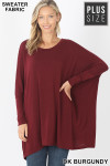 Front view of Dk Burgundy Oversized Round Neck Poncho Plus Size Sweater