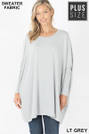 Front view of Lt Grey Oversized Round Neck Poncho Plus Size Sweater