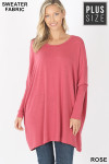 Front view of Rose Oversized Round Neck Poncho Plus Size Sweater