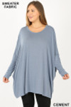 Front view of Cement Oversized Round Neck Poncho Plus Size Sweater