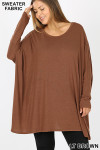 Front view of Lt Brown Oversized Round Neck Poncho Plus Size Sweater