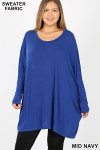 Front view of Mid Navy Oversized Round Neck Poncho Plus Size Sweater