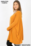 Left side view of Desert Mustard Oversized Round Neck Poncho Plus Size Sweater