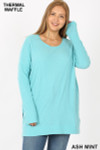 Front image of Ash Mint Brushed Thermal Waffle Knit Round Neck Plus Size Sweater
