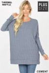 Front image of Cement Brushed Thermal Waffle Knit Round Neck Plus Size Sweater