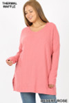 Front image of Desert Rose Brushed Thermal Waffle Knit Round Neck Plus Size Sweater