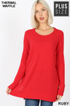 Front image of Ruby Brushed Thermal Waffle Knit Round Neck Plus Size Sweater