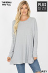 Front image of Lt Grey Brushed Thermal Waffle Knit Round Neck Plus Size Sweater