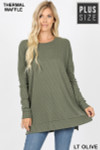 Front image of Lt Olive Brushed Thermal Waffle Knit Round Neck Plus Size Sweater