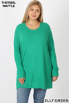 Front image of Green Brushed Thermal Waffle Knit Round Neck Plus Size Sweater