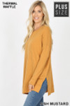 Left side image of Ash Mustard Brushed Thermal Waffle Knit Round Neck Plus Size Sweater