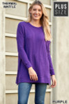 Full body view of Purple Brushed Thermal Waffle Knit Round Neck Plus Size Sweater