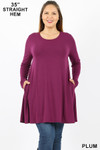 Front of Plum Long Sleeve Plus Size Swing Tunic with Pockets