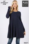 Front of Navy Long Sleeve Plus Size Swing Tunic with Pockets