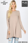 Front of Ash Mocha Long Sleeve Plus Size Swing Tunic with Pockets