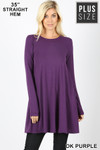 Front of Dk Purple Long Sleeve Plus Size Swing Tunic with Pockets